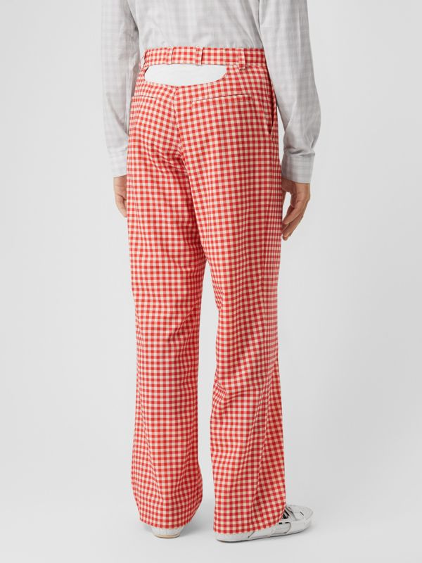 Cut-out Back Gingham Stretch Cotton Trousers in Red | Burberry - cell image 2