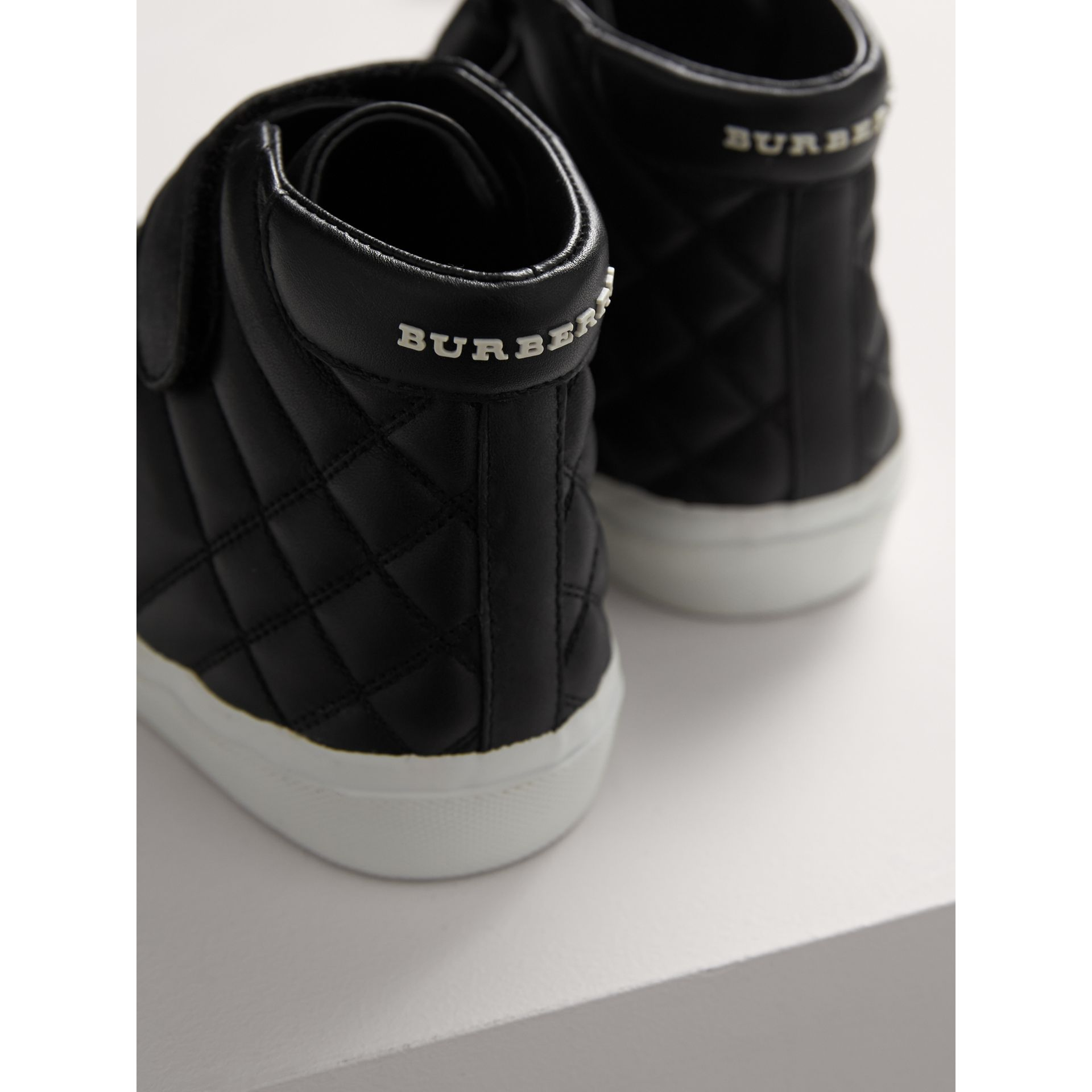 Check-quilted Leather High-top Sneakers in Black - Children | Burberry United States - gallery image 2