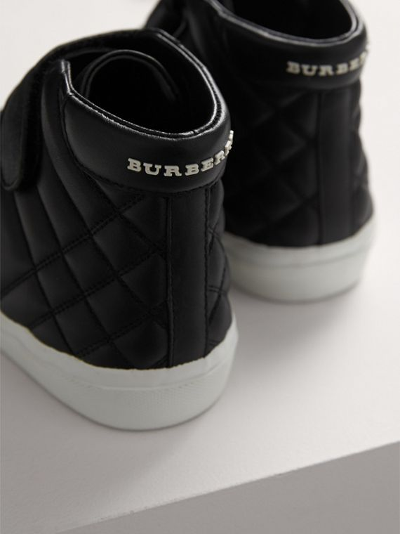 Check-quilted Leather High-top Sneakers in Black | Burberry United States - cell image 2