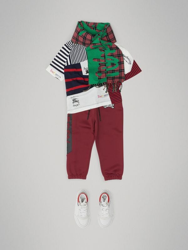 Graffiti Print Jersey Sweatpants in Burgundy | Burberry - cell image 2