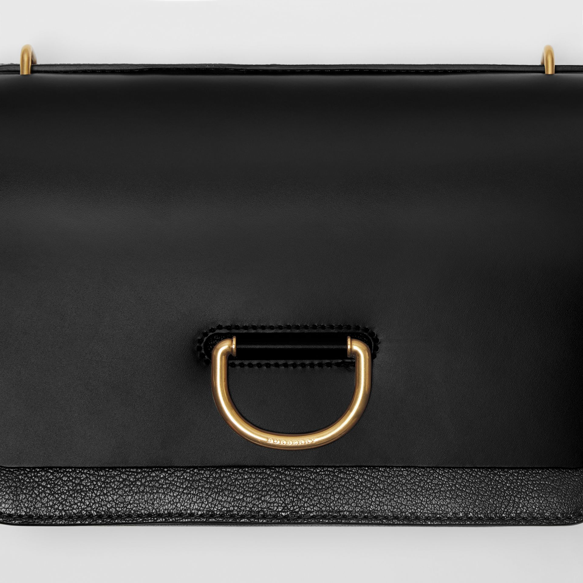 The Medium Leather D-ring Bag in Black - Women | Burberry Canada - gallery image 1