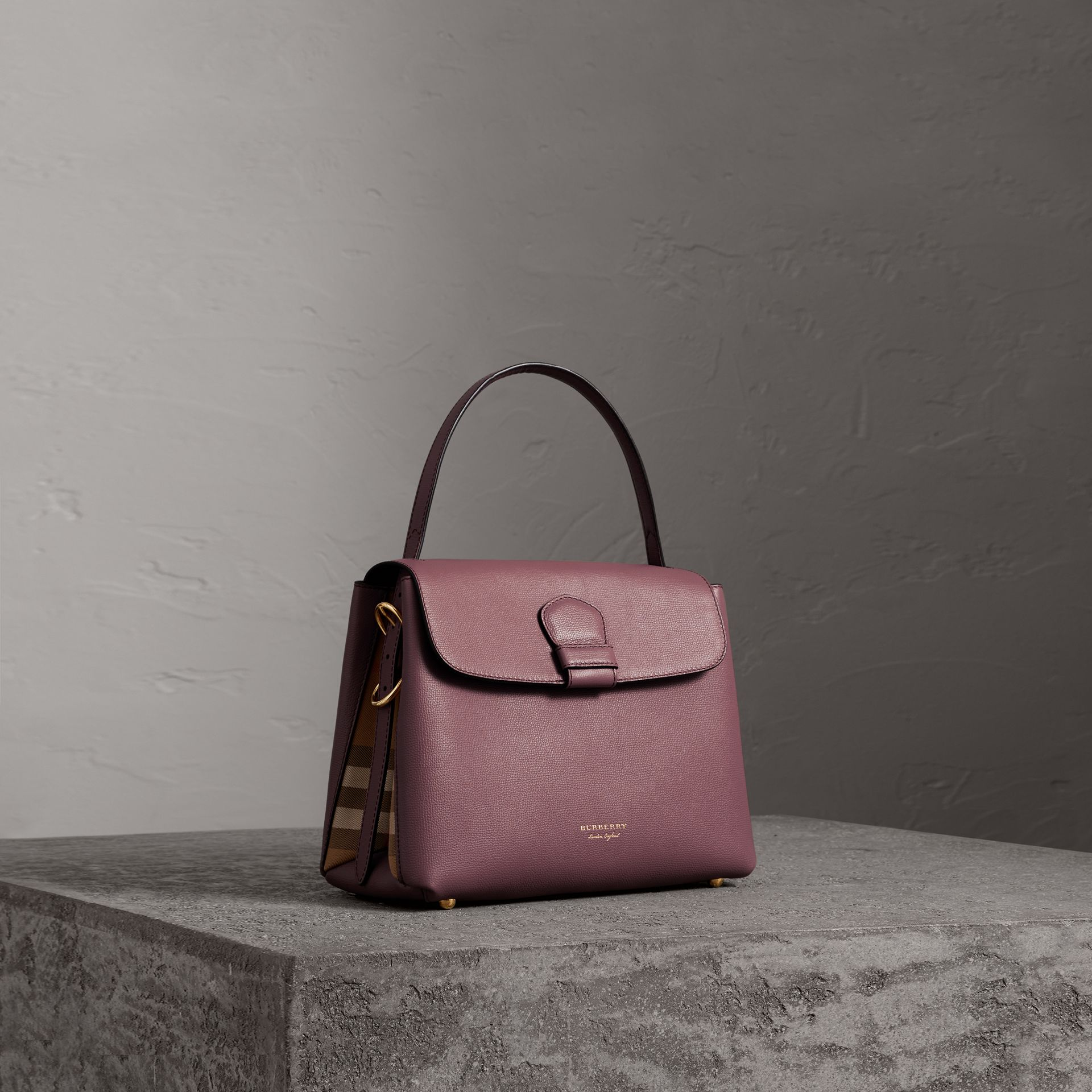 Small Grainy Leather and House Check Tote Bag in Mahogany Red - Women | Burberry - gallery image 0