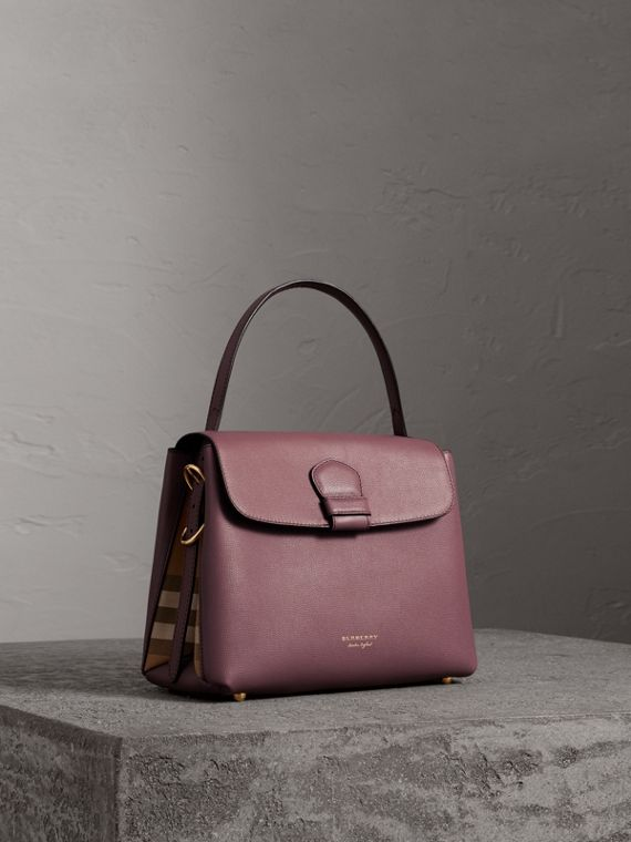 Small Grainy Leather and House Check Tote Bag in Mahogany Red