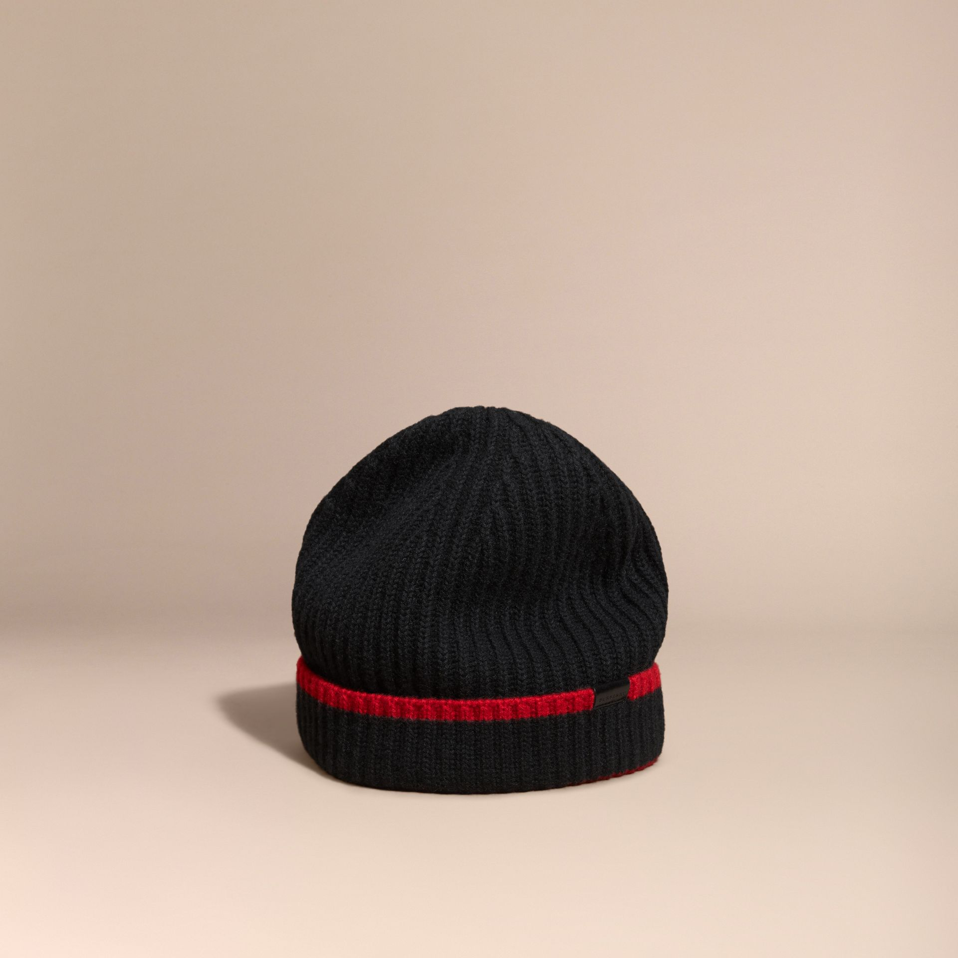 Black/parade red Ribbed Cashmere Tipped Beanie - gallery image 1