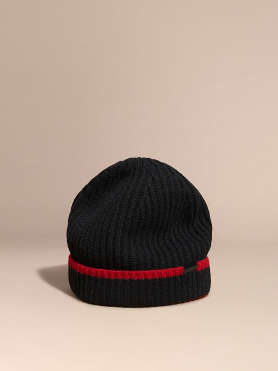 Ribbed Cashmere Tipped Beanie Black/parade Red