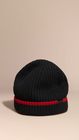 Ribbed Cashmere Tipped Beanie