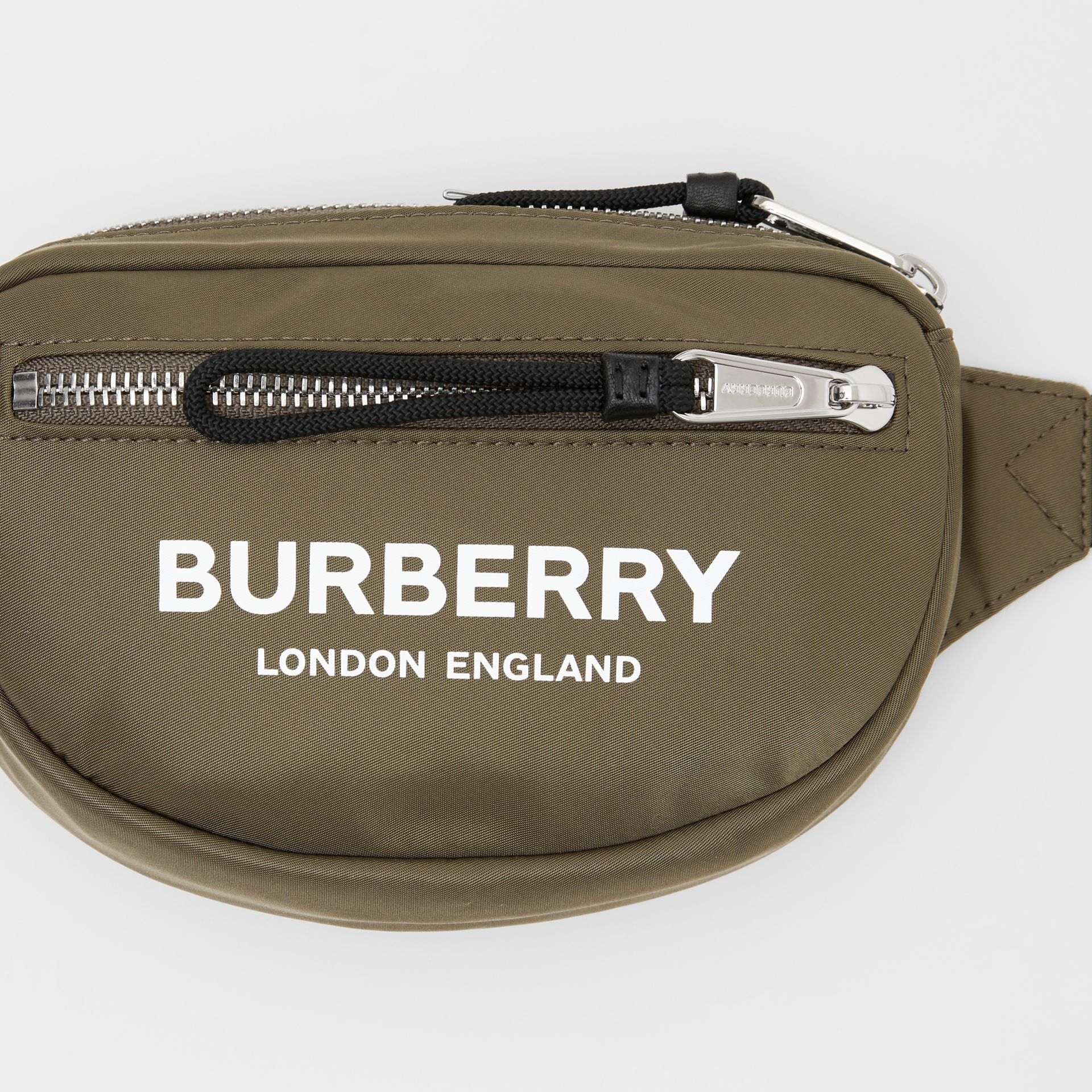 Small Logo Print Bum Bag in Canvas Green | Burberry United Kingdom - gallery image 1