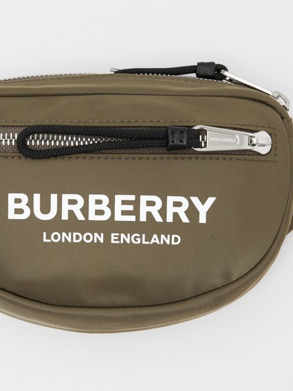Small Logo Print Bum Bag in Canvas Green - Men | Burberry - cell image 1