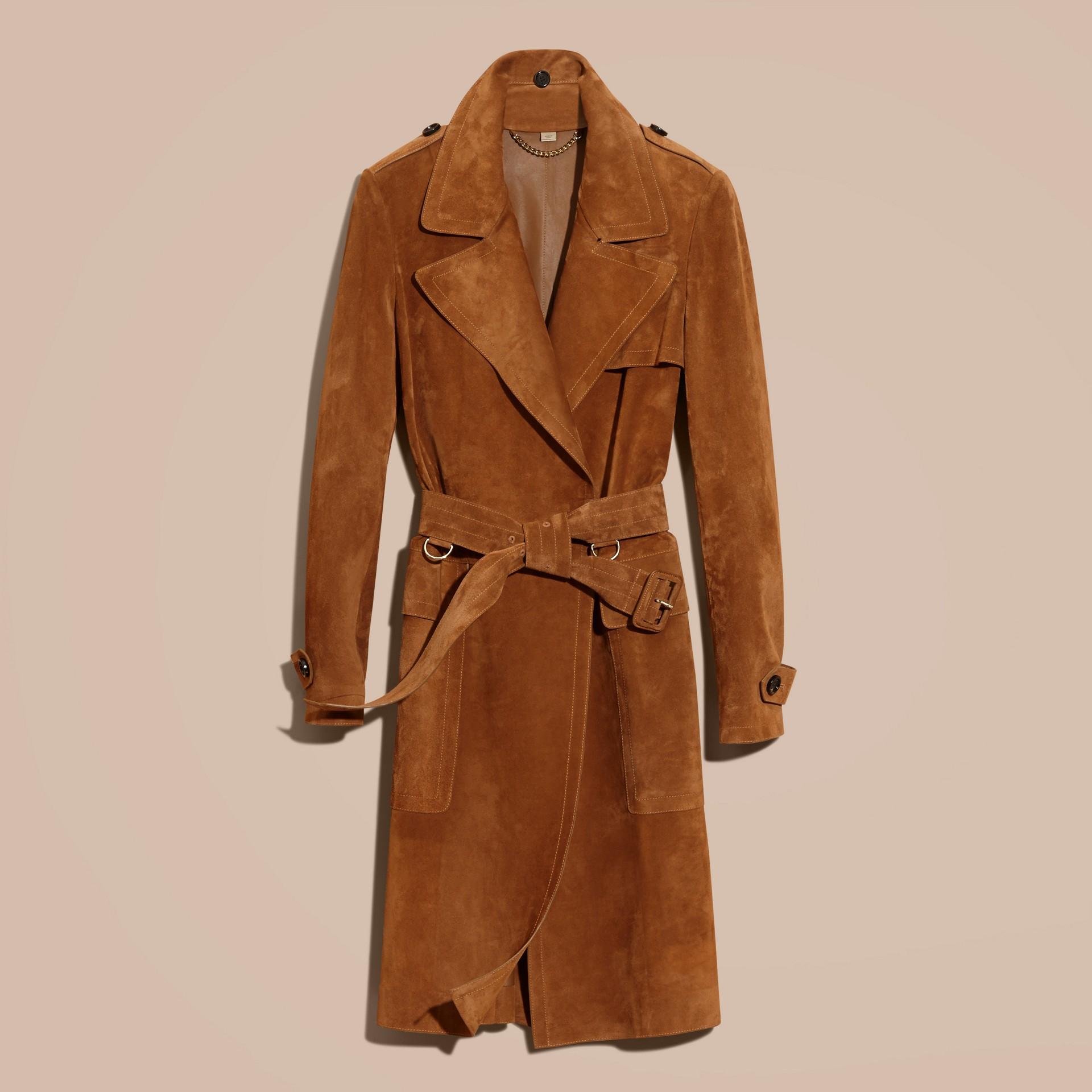 Cognac Cappotto a vestaglia in pelle scamosciata - immagine della galleria 4