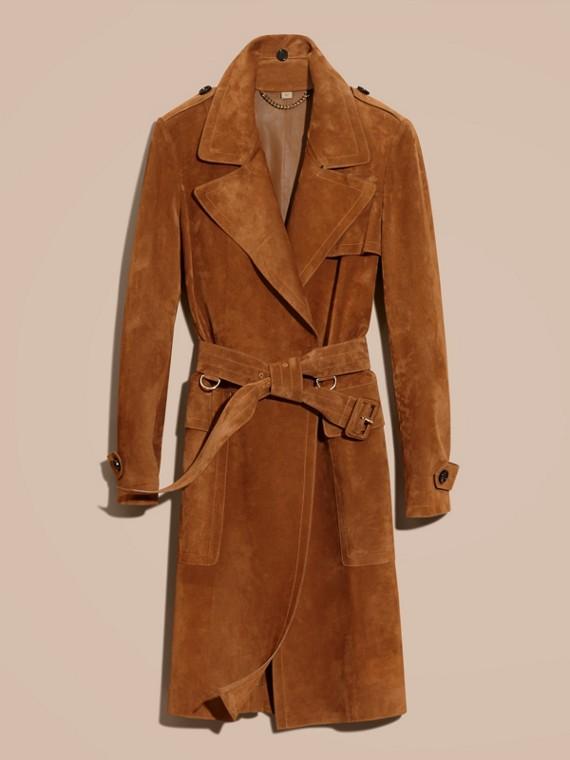 Cognac Cappotto a vestaglia in pelle scamosciata - cell image 3