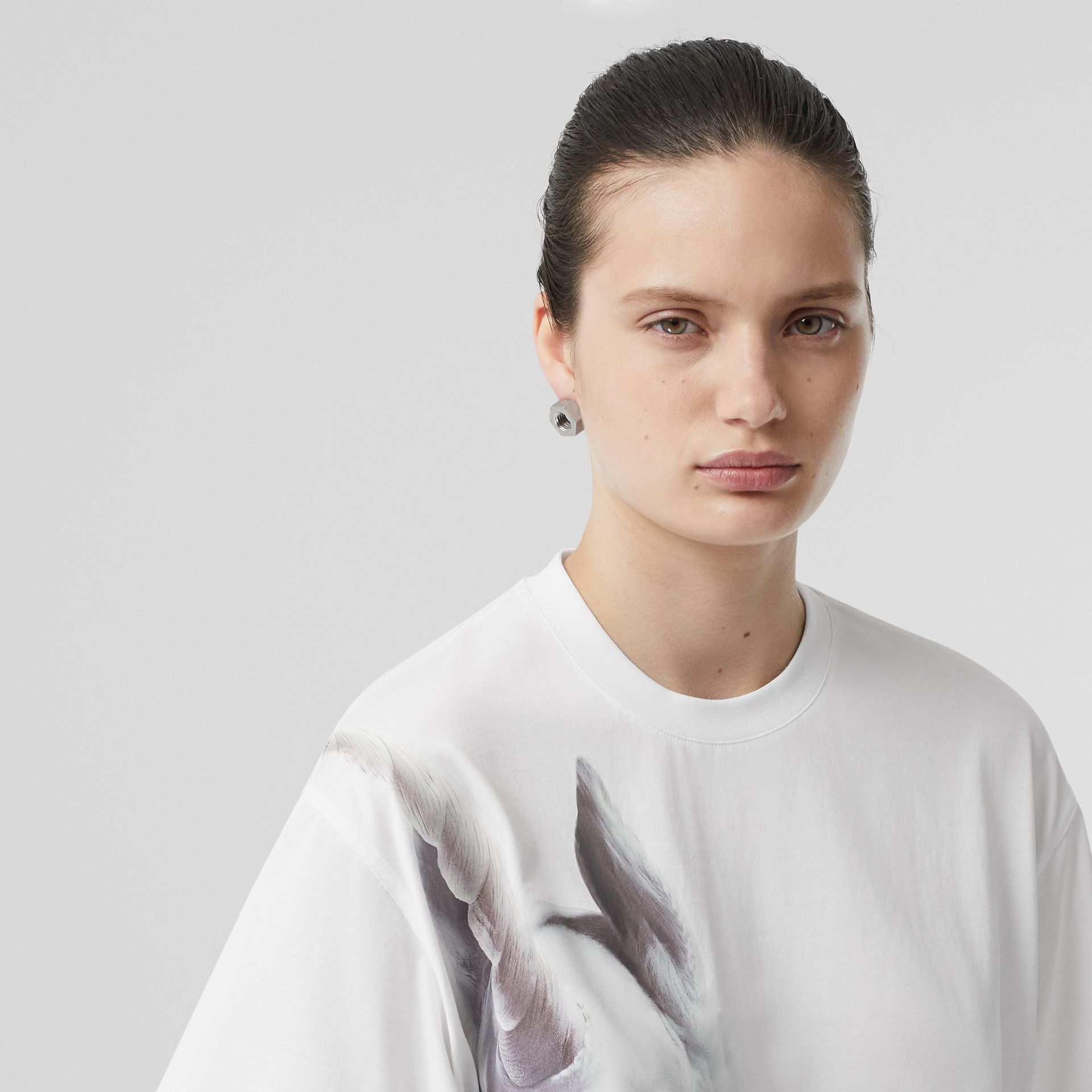 Unicorn Print Cotton Oversized T-shirt in White - Women | Burberry United Kingdom - gallery image 1
