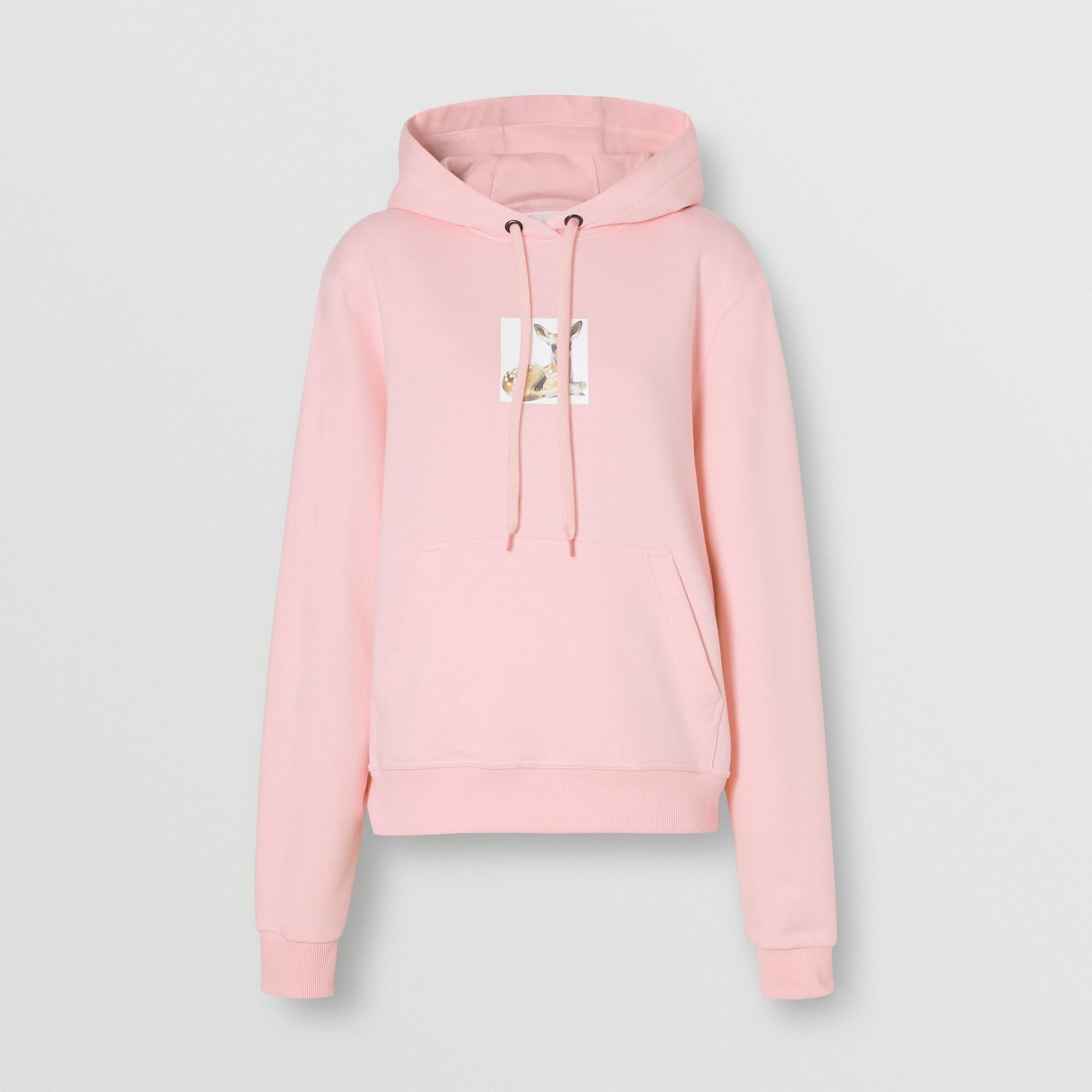 Deer Print Cotton Hoodie in Candy Pink - Women | Burberry Hong Kong S.A.R - gallery image 3