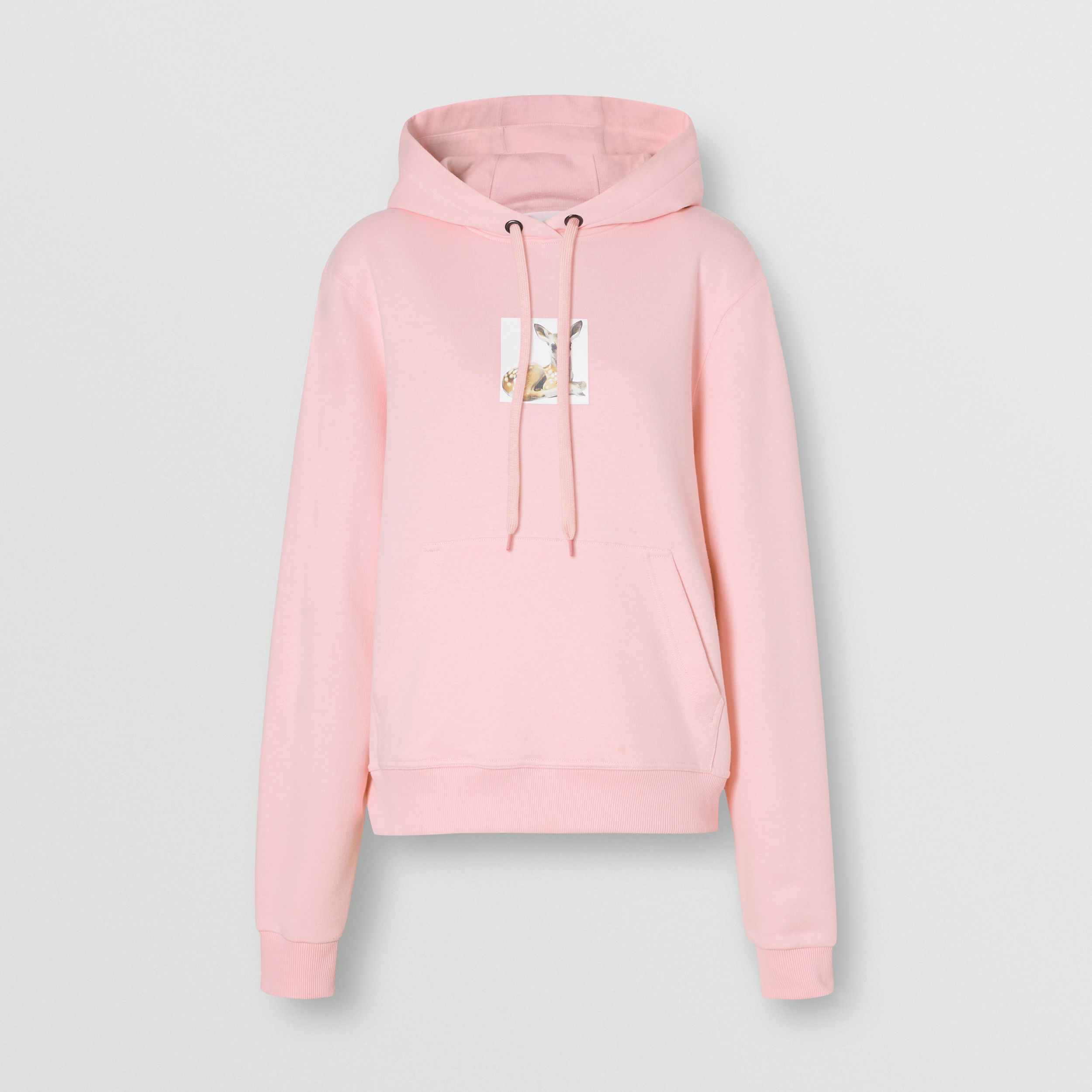 Deer Print Cotton Hoodie in Candy Pink - Women | Burberry United Kingdom - 4