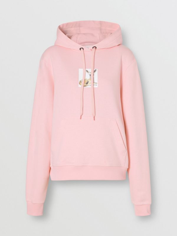 Deer Print Cotton Hoodie in Candy Pink - Women | Burberry Hong Kong S.A.R - cell image 3