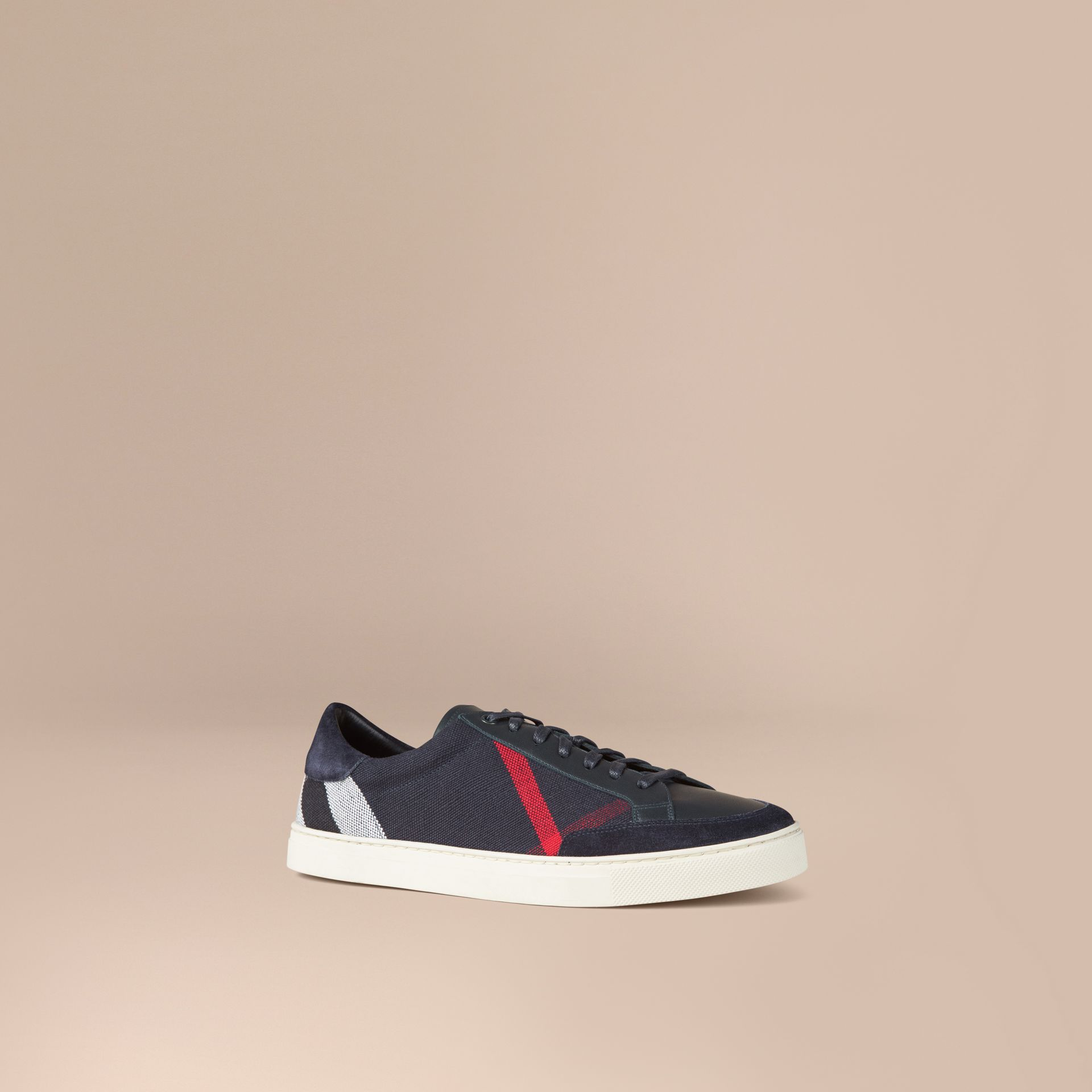 Navy Canvas Check and Leather Trainers - gallery image 1