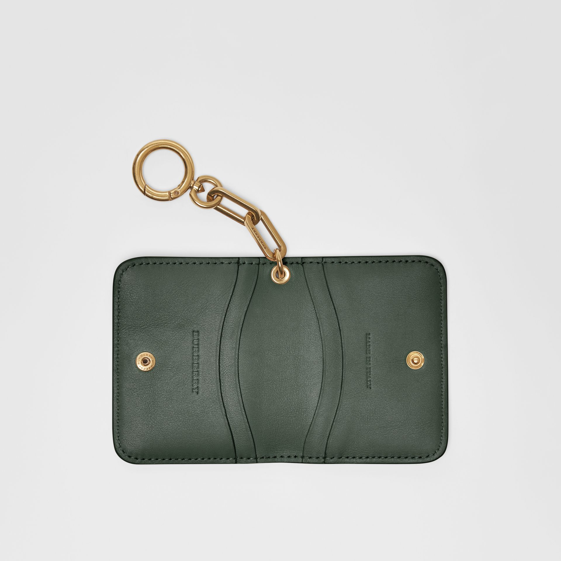 Link Detail Patent Leather ID Card Case Charm in Dark Forest Green - Women | Burberry United States - gallery image 3