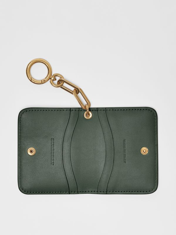 Link Detail Patent Leather ID Card Case Charm in Dark Forest Green - Women | Burberry United States - cell image 3