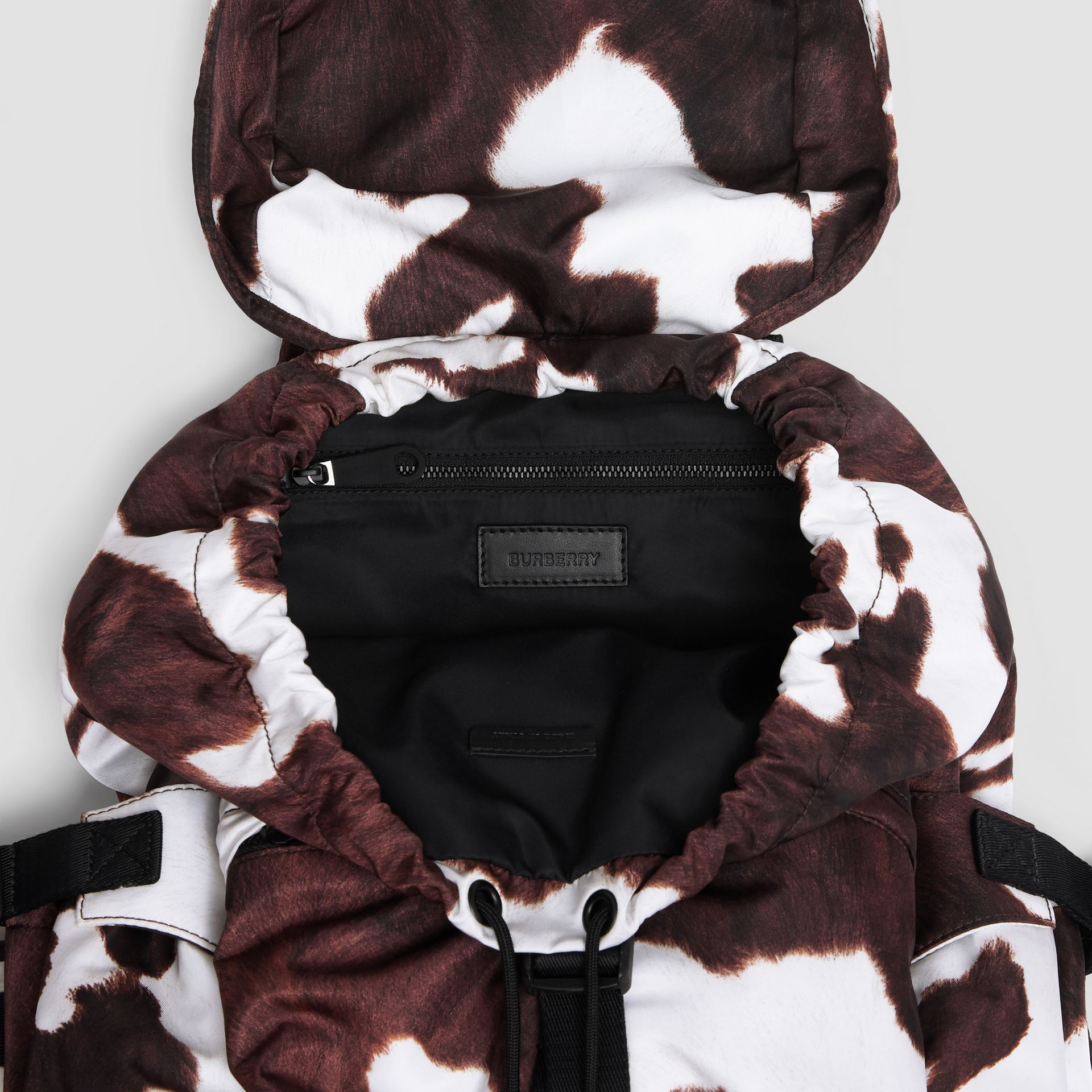 Cow Print Nylon Backpack in Mahogany - Women | Burberry - gallery image 4