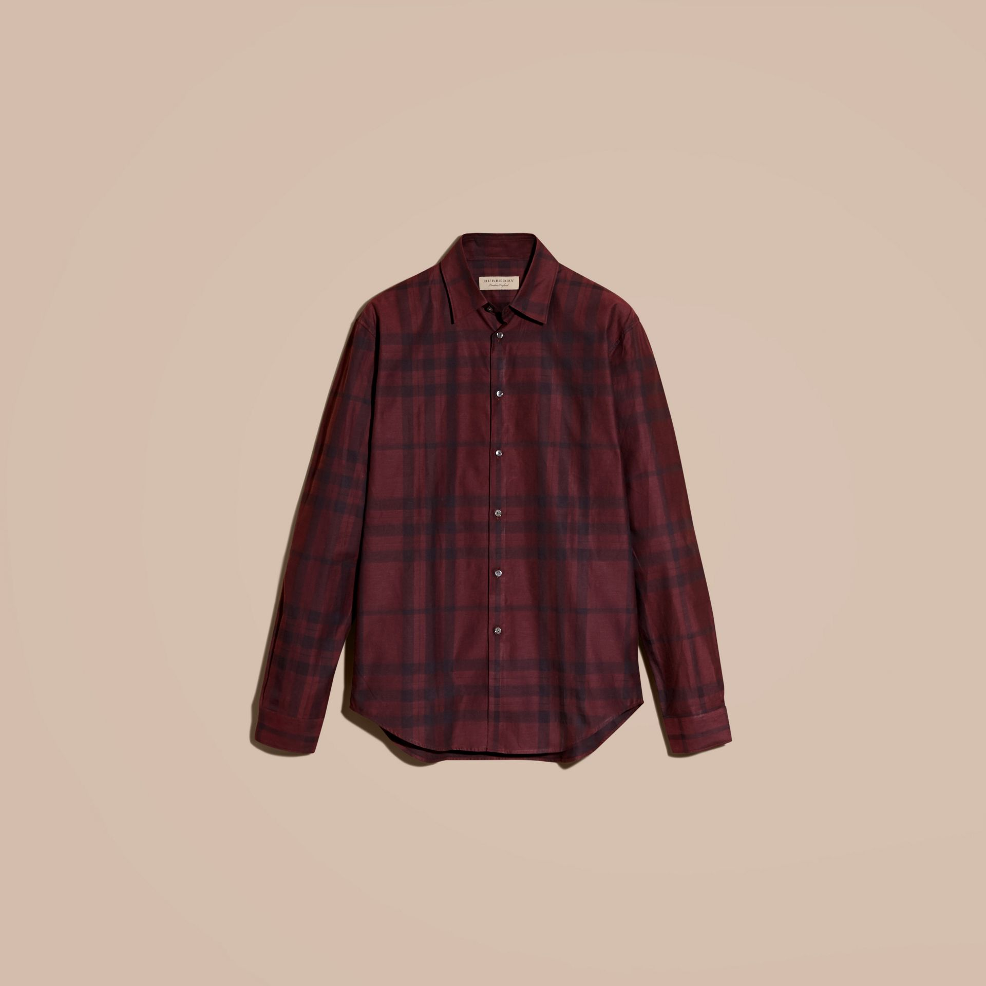 Deep burgundy Check Cotton Flannel Shirt Deep Burgundy - gallery image 4