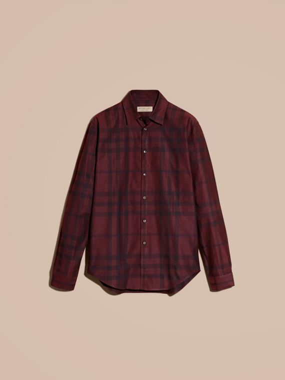Deep burgundy Check Cotton Flannel Shirt Deep Burgundy - cell image 3