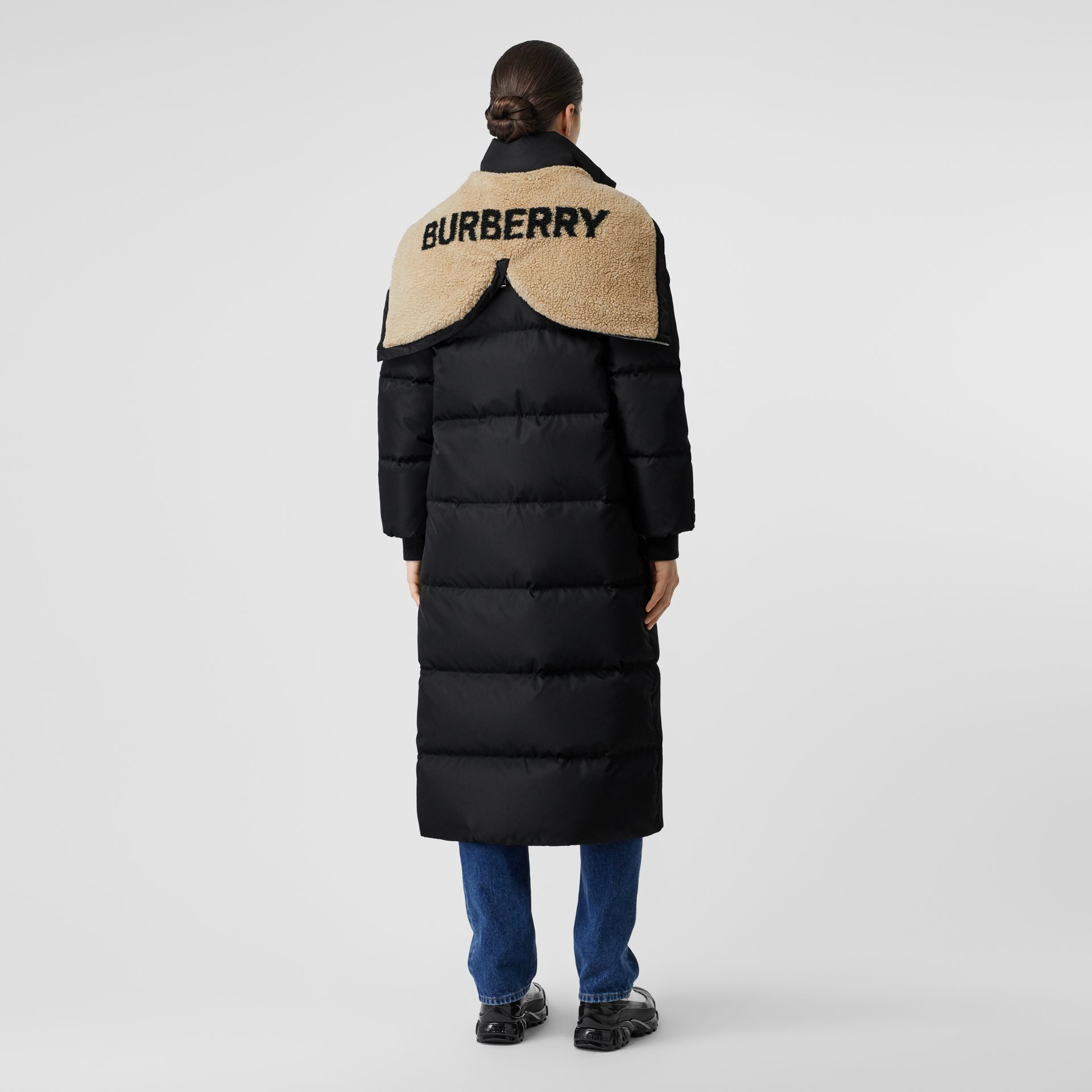 Logo Detail Puffer Coat in Black - Women | Burberry - gallery image 2