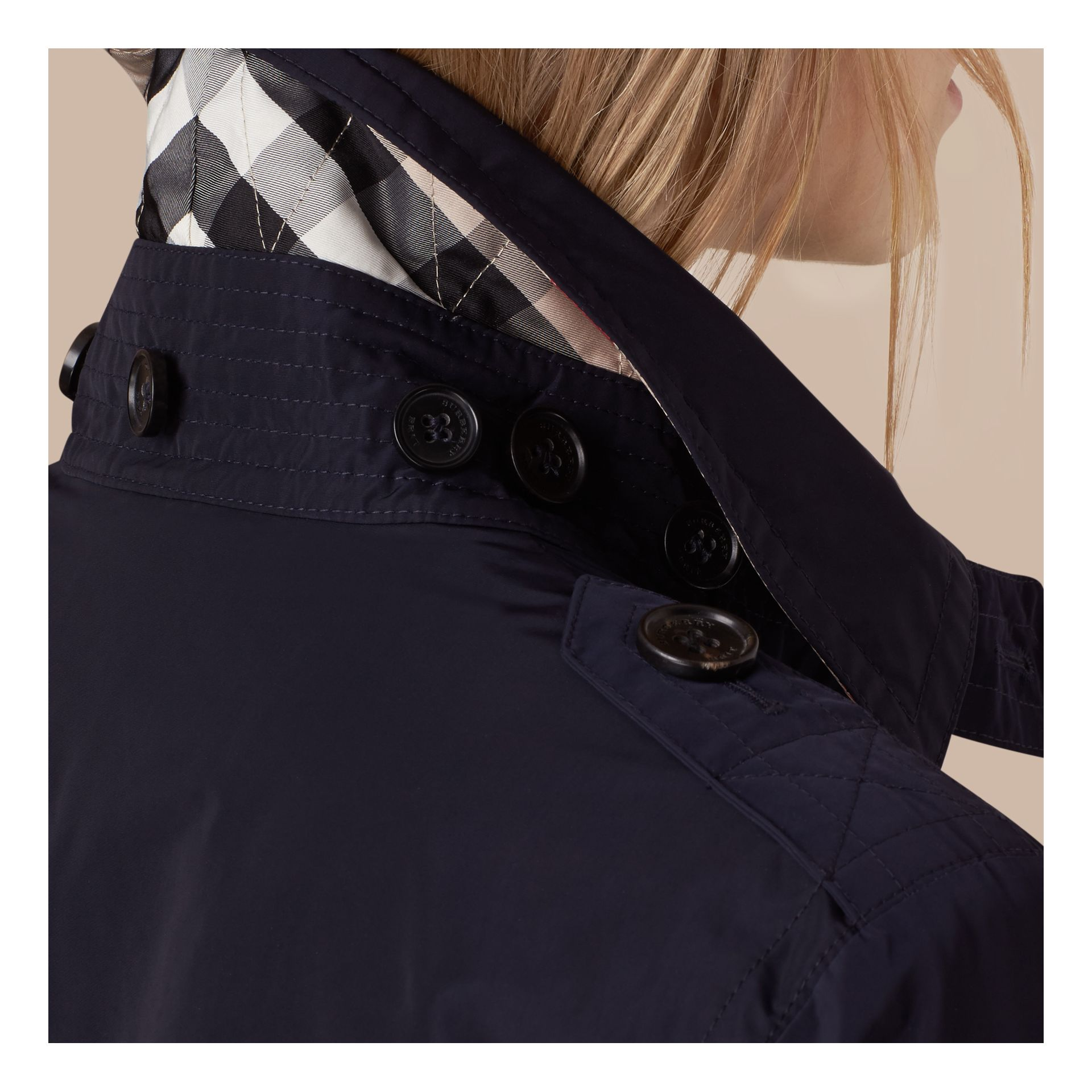 Navy Taffeta Trench Coat with Detachable Hood Navy - gallery image 2