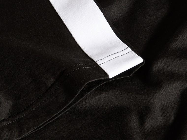 Noir T-shirt en coton avec rayure à l'épaule Noir - cell image 1