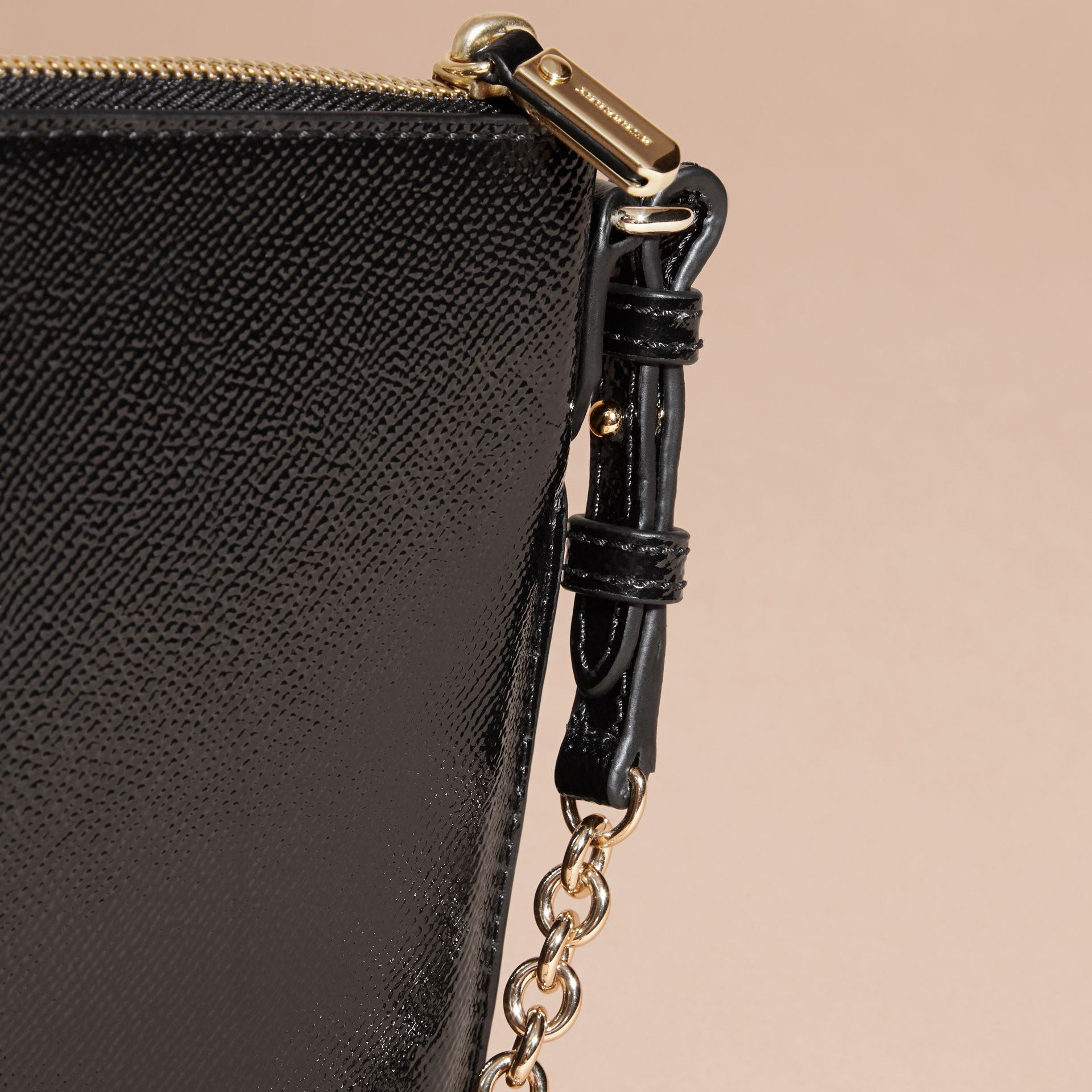 Patent London Leather Clutch Bag in Black - gallery image 7
