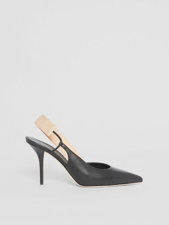 Logo Detail Lambskin Slingback Pumps in Black