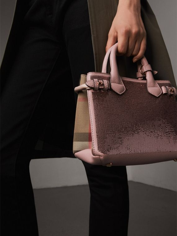The Baby Banner in Sequins, Check and Leather in Pale Orchid - Women | Burberry - cell image 3