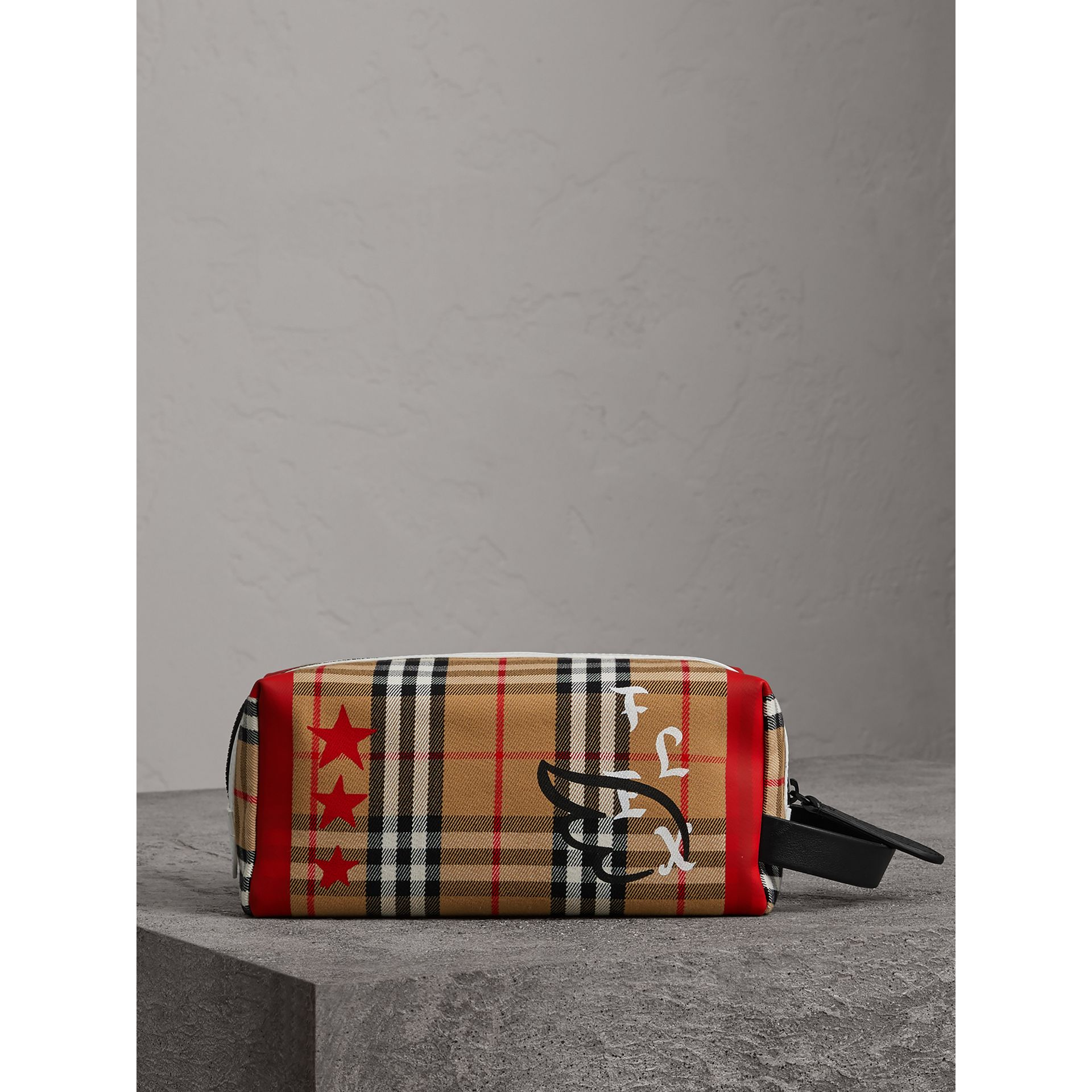 Burberry x Kris Wu Vintage Check Cotton Pouch in Antique Yellow - Men | Burberry United States - gallery image 0