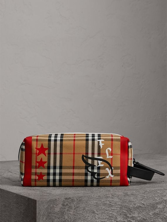 Burberry x Kris Wu Vintage Check Cotton Pouch in Antique Yellow