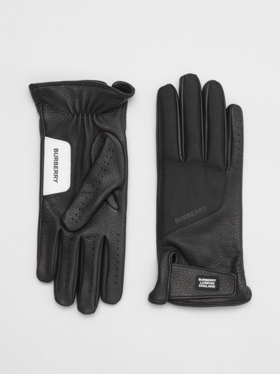 Logo Appliqué Cashmere-lined Deerskin Gloves in Black