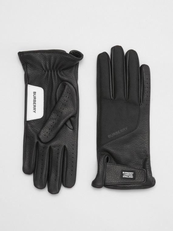 Gants en cuir de cerf doublés de cachemire avec logo (Noir)