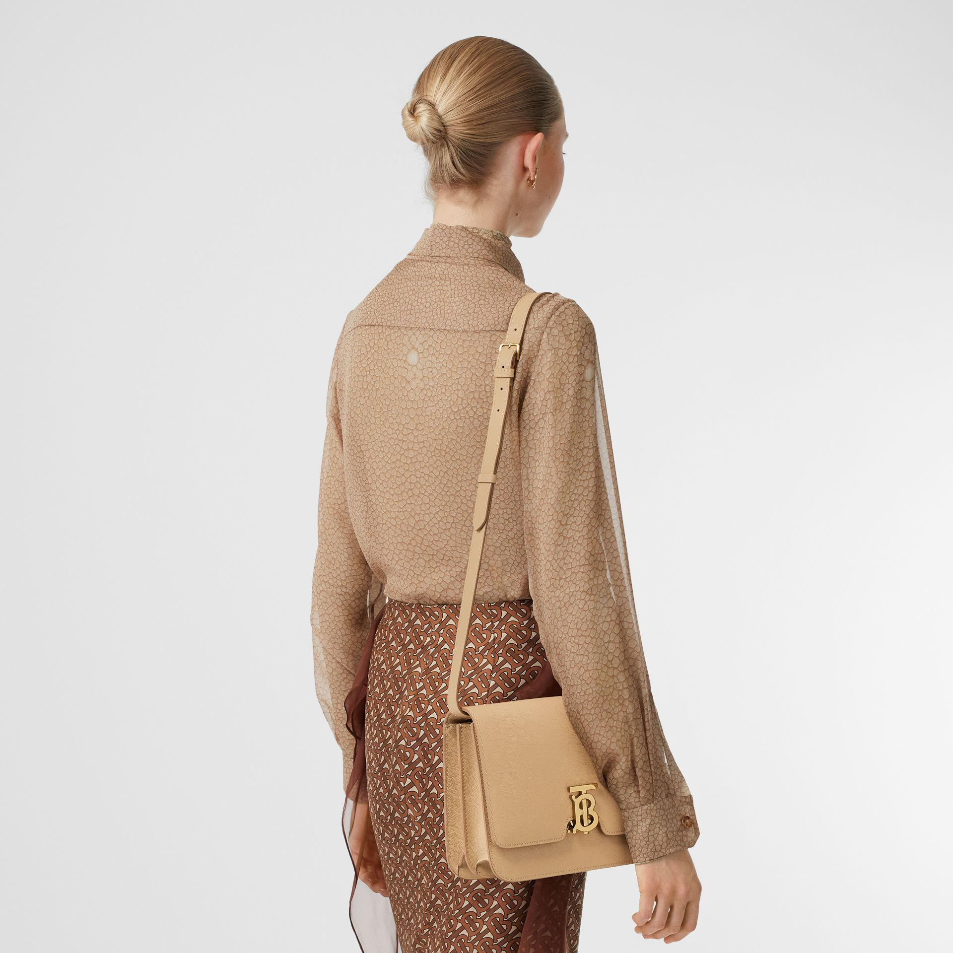 Medium Grainy Leather TB Bag in Archive Beige - Women | Burberry Australia - gallery image 2