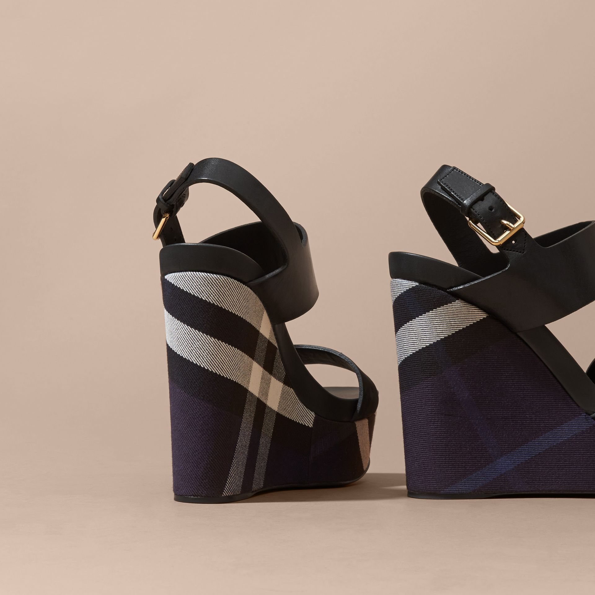 House Check Leather and Calf Suede Platform Wedges Indigo Blue - gallery image 4
