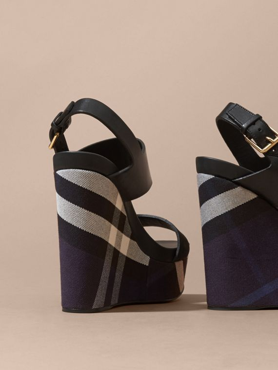 House Check Leather and Calf Suede Platform Wedges Indigo Blue - cell image 3
