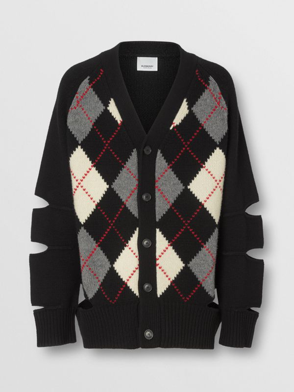 Cut-out Detail Merino Wool Cashmere Cardigan in Black - Men | Burberry - cell image 3
