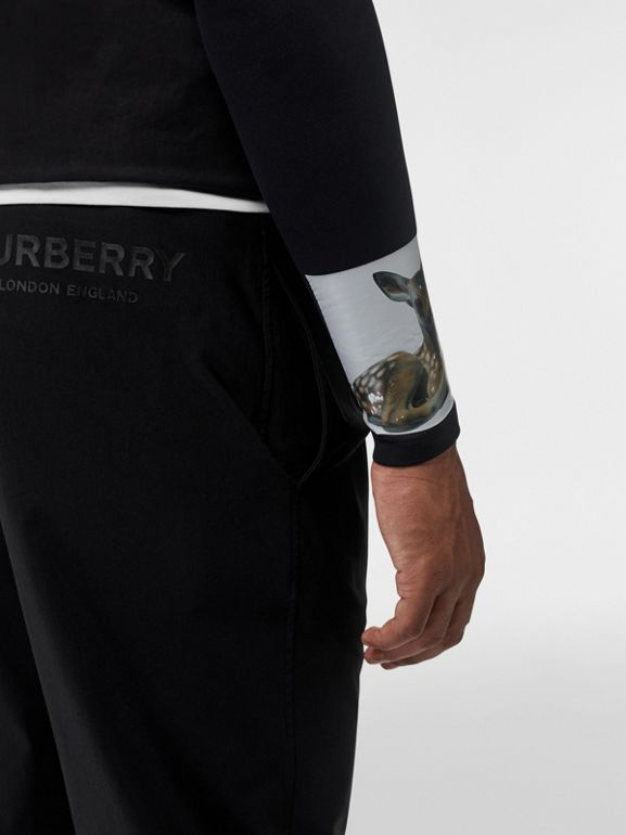 Logo Print Stretch Nylon Trackpants in Black - Men | Burberry - cell image 1
