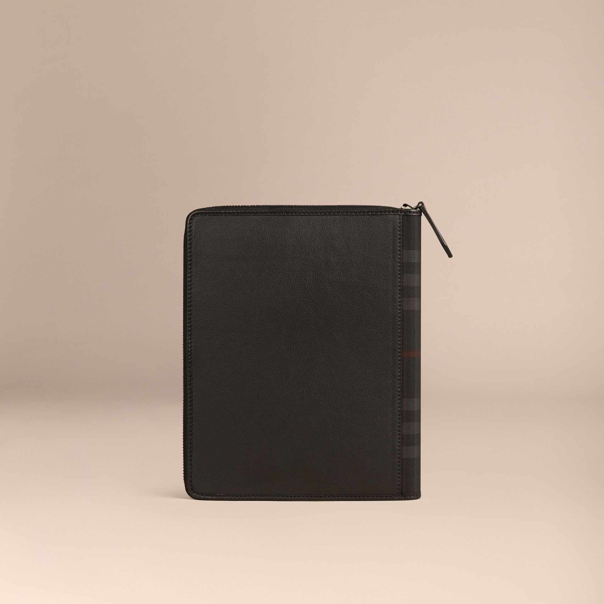 Black Ziparound Leather and Horseferry Check Detail A5 Notebook - gallery image 4