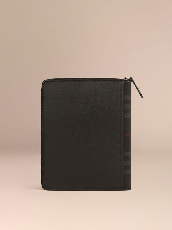 Black Ziparound Leather and Horseferry Check Detail A5 Notebook - cell image 3
