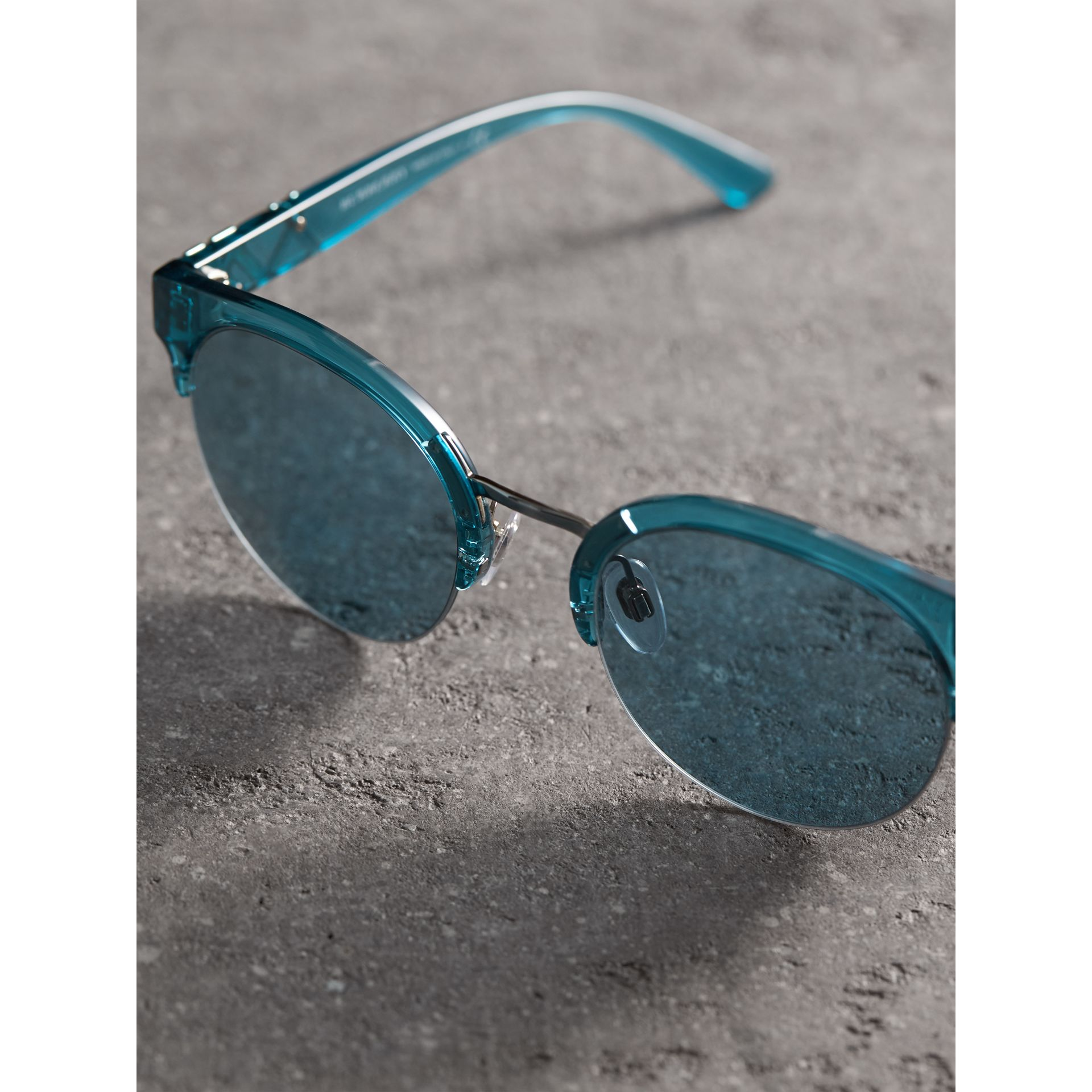 Check Detail Round Half-frame Sunglasses in Blue - Women | Burberry Singapore - gallery image 2
