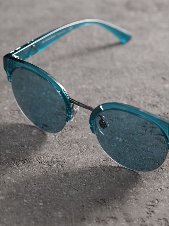 Check Detail Round Half-frame Sunglasses in Blue - Women | Burberry - cell image 2