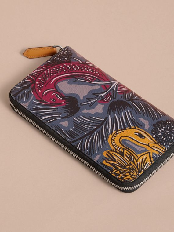 Beasts Print Leather Ziparound Wallet in Navy Grey - Men | Burberry - cell image 3
