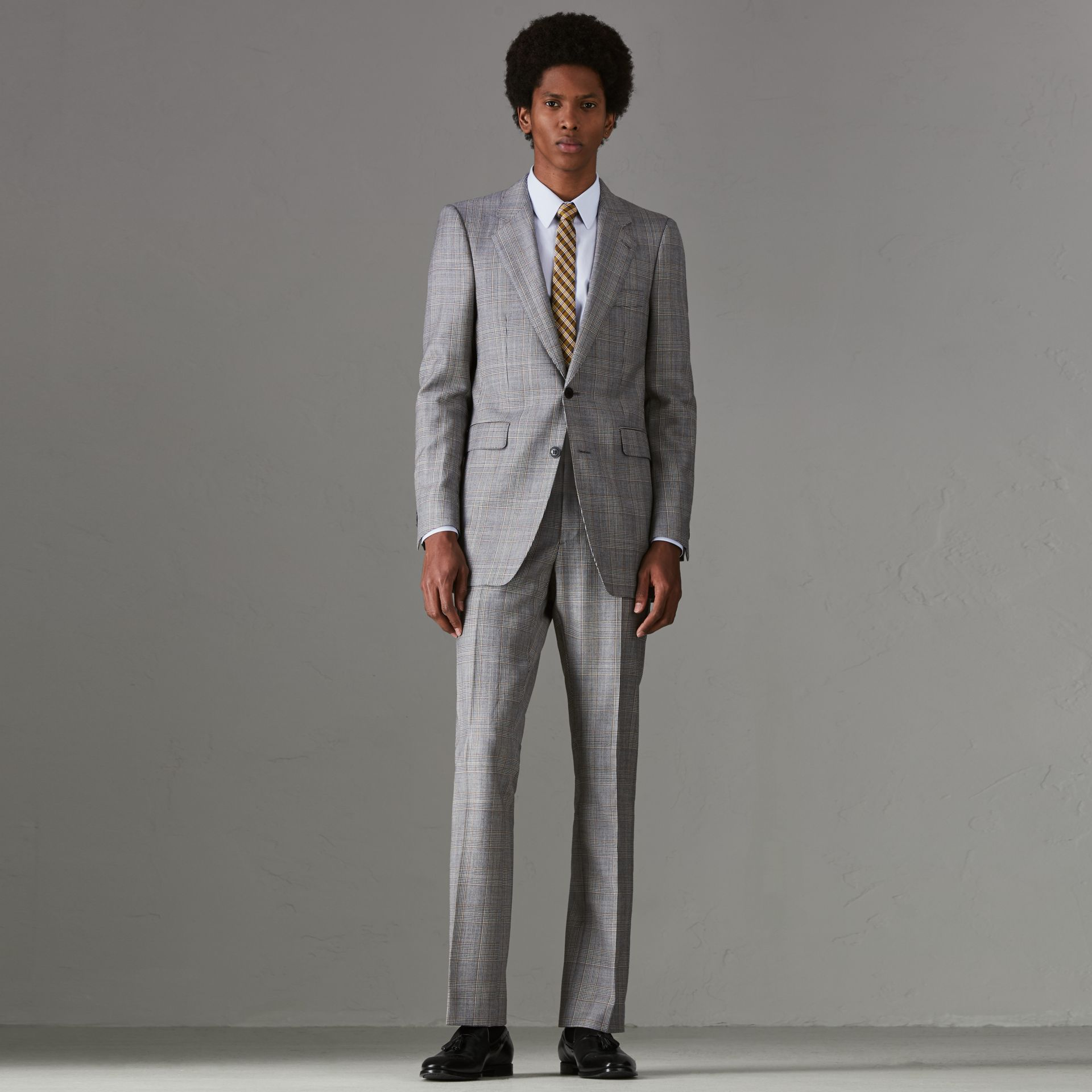 Slim Fit Prince of Wales Check Wool Cashmere Suit in Mid Grey - Men | Burberry - gallery image 0