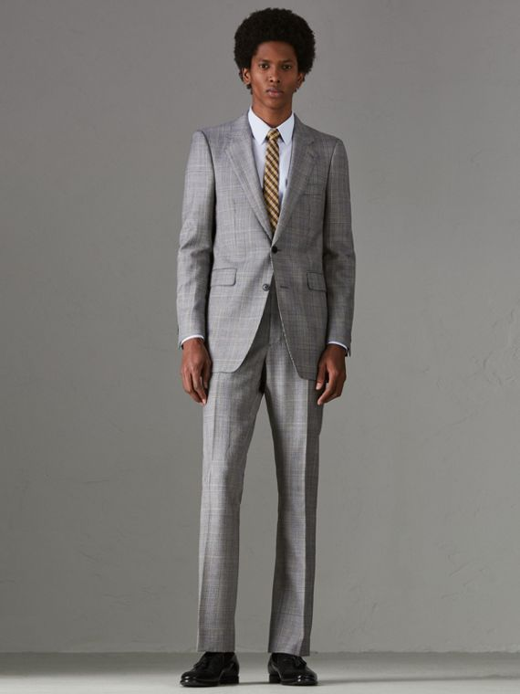 Slim Fit Prince of Wales Check Wool Cashmere Suit in Mid Grey