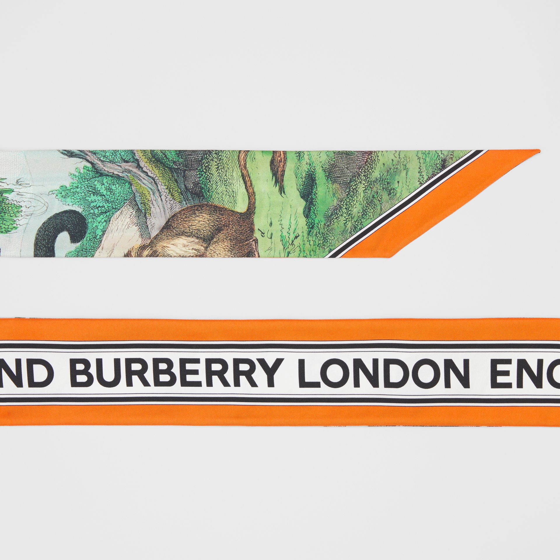 Monkey Print Silk Skinny Scarf in Light Opal Green | Burberry - gallery image 1