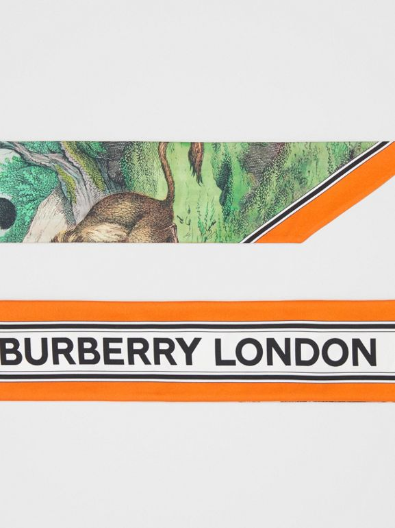 Monkey Print Silk Skinny Scarf in Light Opal Green | Burberry - cell image 1
