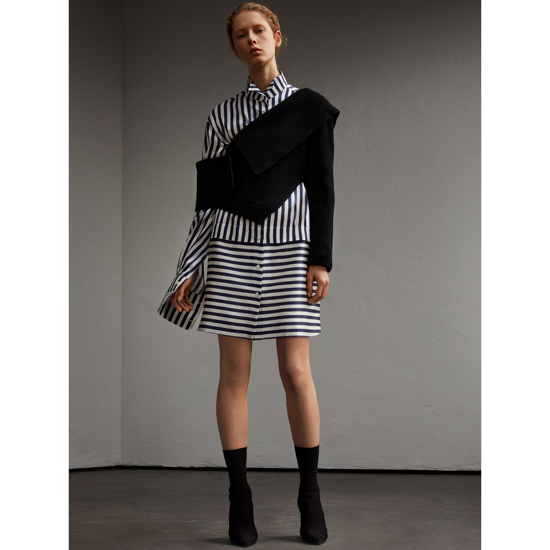Striped Silk Cotton Shirt Dress - gallery image 6