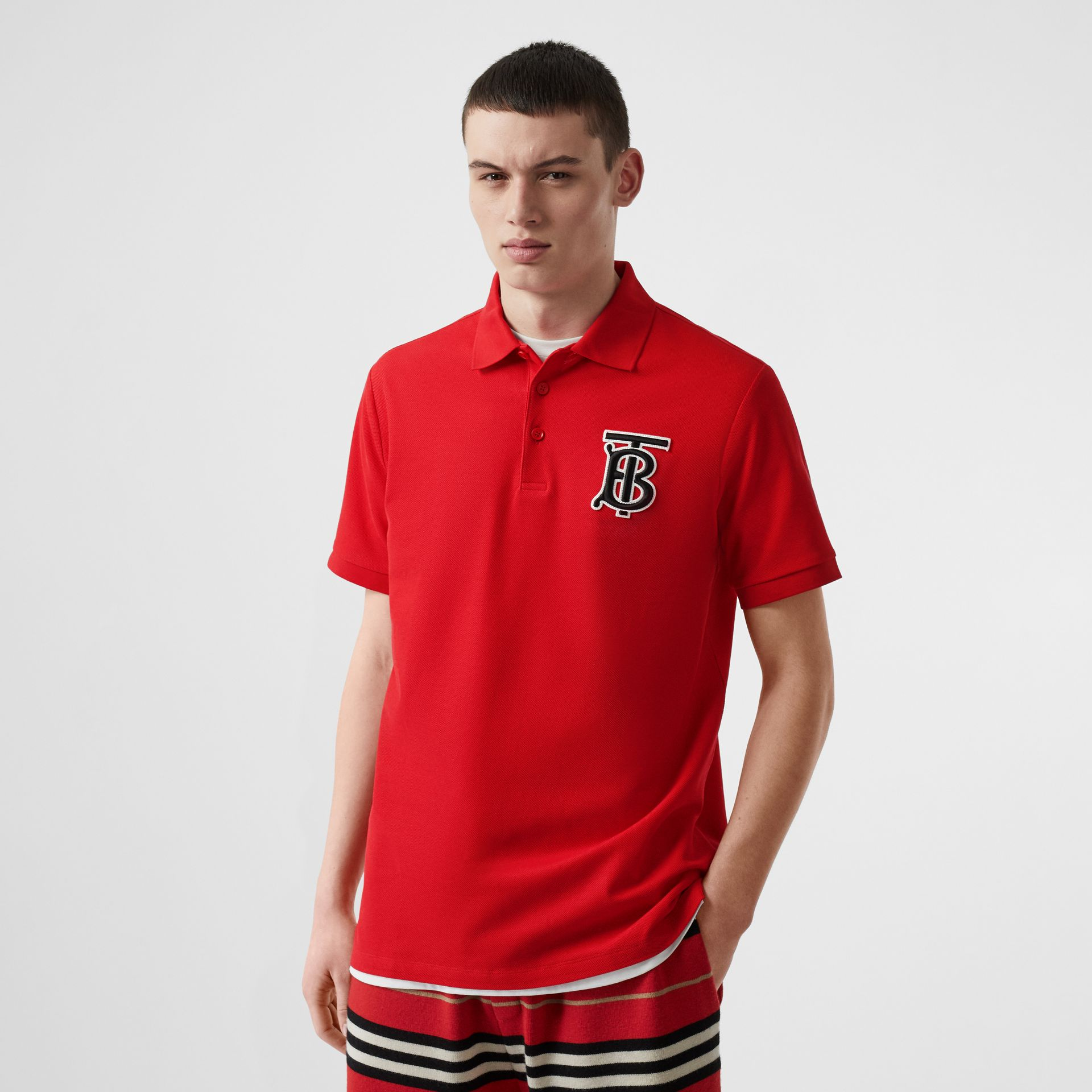 Monogram Motif Cotton Piqué Oversized Polo Shirt in Bright Red - Men | Burberry Australia - gallery image 4